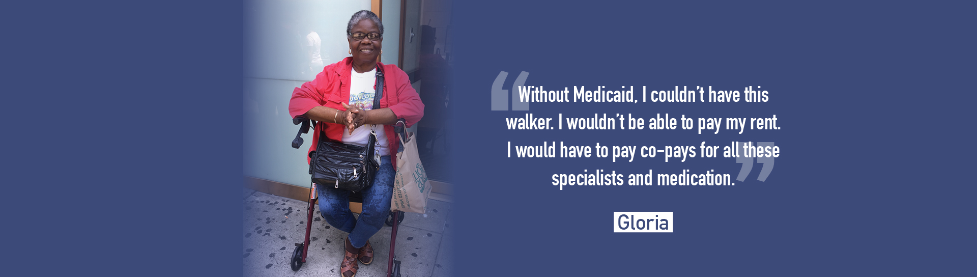 Photo of volunteer Gloria Goodson seated on walker with the words