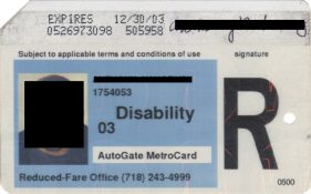 Image of a reduced fare MetroCard for people with disabilities.