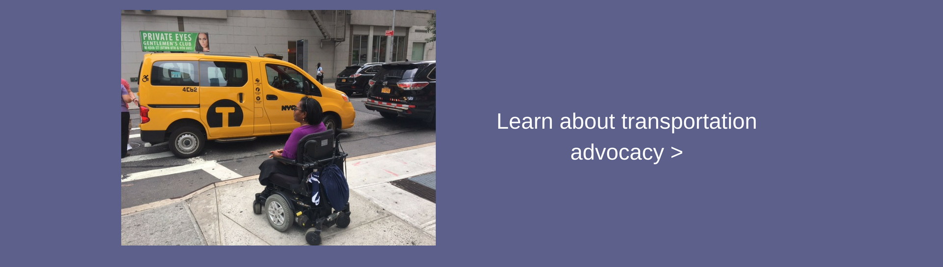 Image of wheelchair user waiting for a cab. Learn more about transportation advocacy.