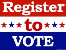 Register to vote in red, white, and blue colors.