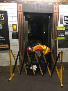 Image of out of service subway elevator.
