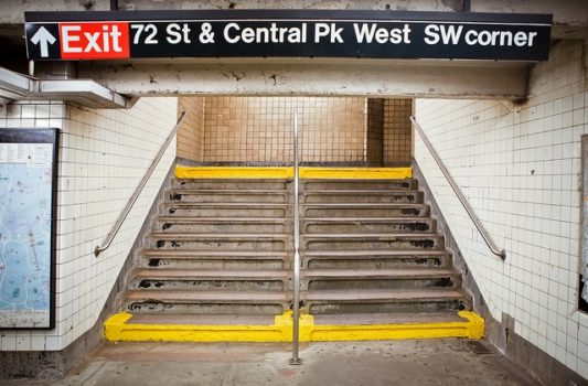 Image of stairs at subway station.